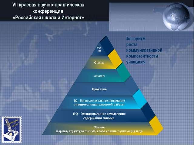VII краевая научно-практическая конференция «Российская школа и Интернет» Алг...