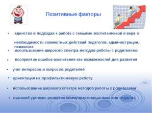 Позитивные факторы • высокий уровень развития коммуникативных навыков психоло