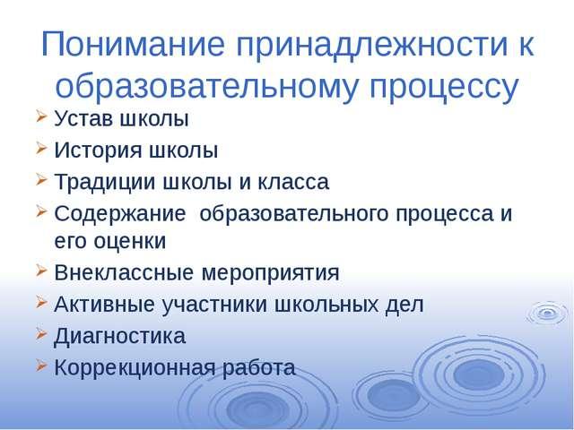Понимание принадлежности к образовательному процессу Устав школы История школ...