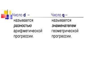 Число d – называется разностью арифметической прогрессии. Число q – называет