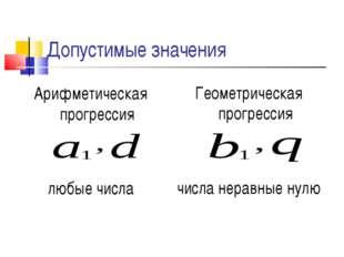 Допустимые значения Арифметическая прогрессия любые числа Геометрическая прог