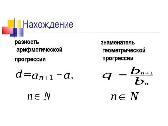 Нахождение разность арифметической прогрессии знаменатель геометрической прог...