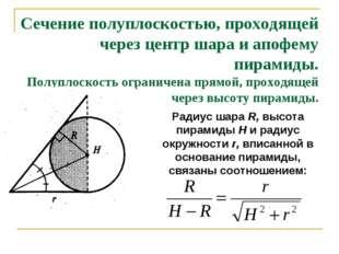 Сечение полуплоскостью, проходящей через центр шара и апофему пирамиды. Полуп