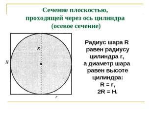 Сечение плоскостью, проходящей через ось цилиндра (осевое сечение) Радиус шар
