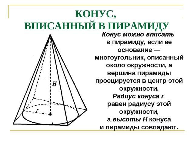 КОНУС, ВПИСАННЫЙ В ПИРАМИДУ Конус можно вписать в пирамиду, если ее основание...