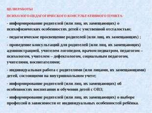ЦЕЛИ РАБОТЫ ПСИХОЛОГО-ПЕДАГОГИЧЕСКОГО КОНСУЛЬТАТИВНОГО ПУНКТА: - информирован