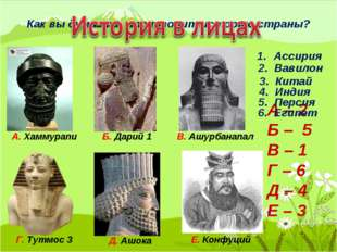 Как вы думаете, кто творит историю страны? А. Хаммурапи Б. Дарий 1 В. Ашурбан