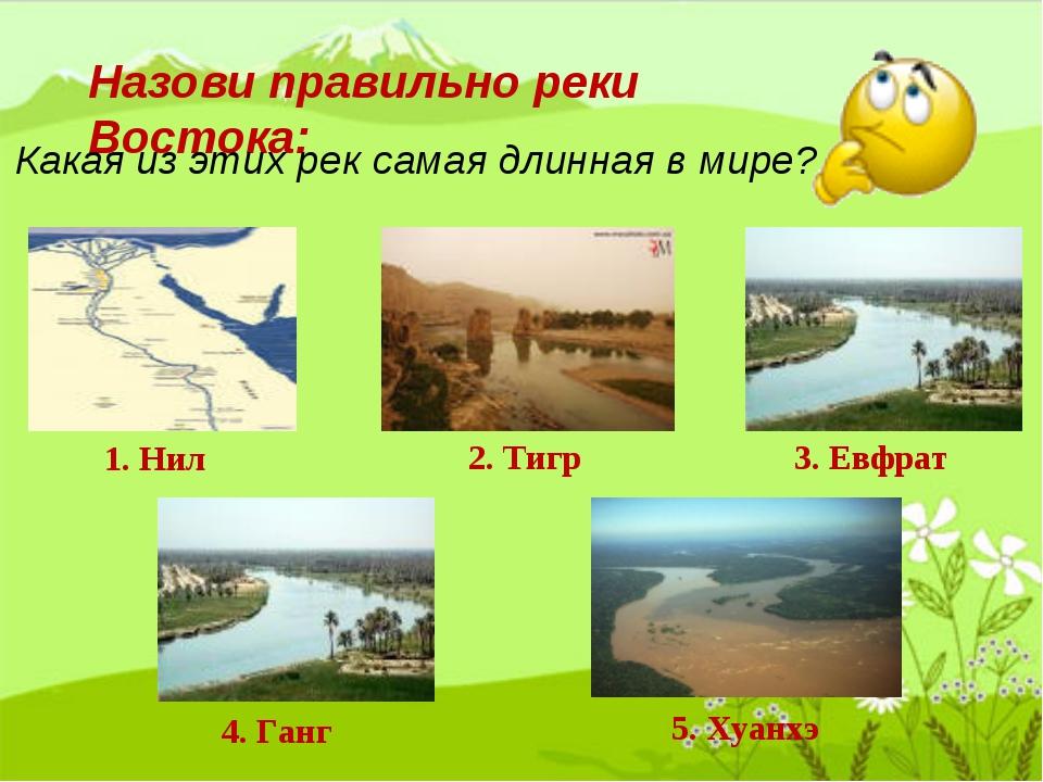 Назови правильно реки Востока: Какая из этих рек самая длинная в мире? 1. Нил...