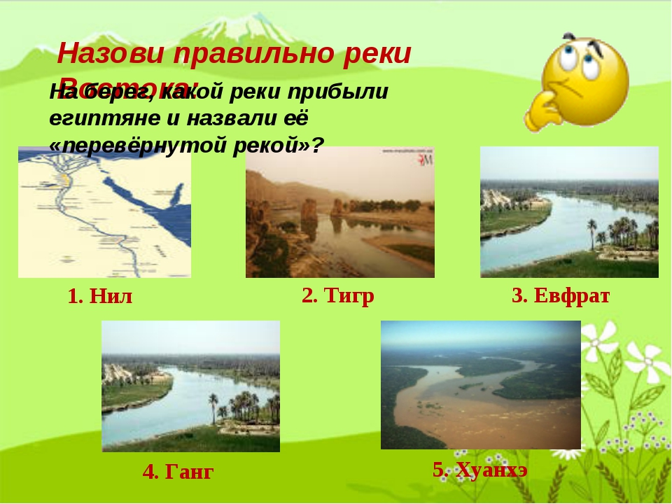 Назови правильно реки Востока: 1. Нил 2. Тигр 3. Евфрат 4. Ганг 5. Хуанхэ На...