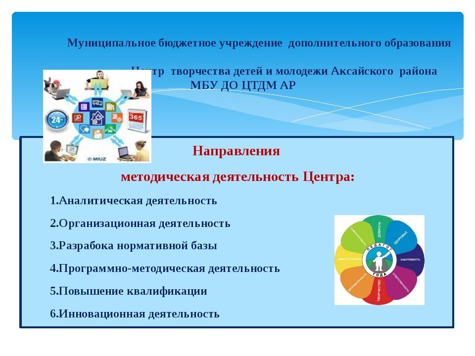 Направления методическая деятельность Центра: 1.Аналитическая деятельность 2...