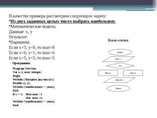 В качестве примера рассмотрим следующую задачу: Из двух заданных целых чисел