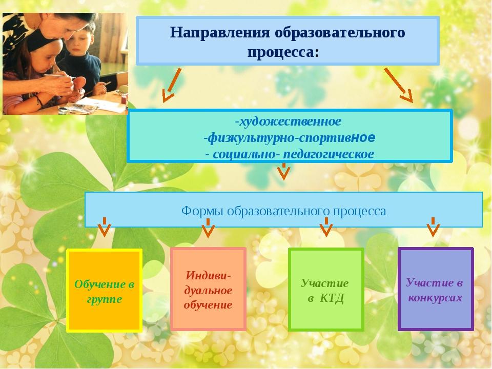 Обучение в группе Направления образовательного процесса: Индиви- дуальное об...