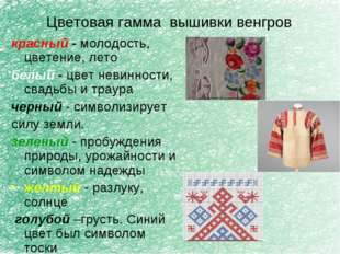 Цветовая гамма вышивки венгров красный - молодость, цветение, лето белый - цв