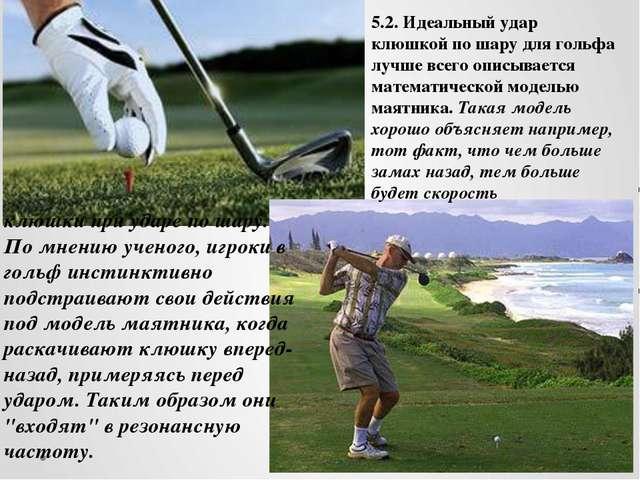 клюшки при ударе по шару. По мнению ученого, игроки в гольф инстинктивно подс...