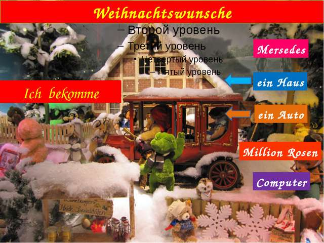 Weihnachtswunsche Ich bekomme ein Auto Mersedes ein Haus Million Rosen Compu...