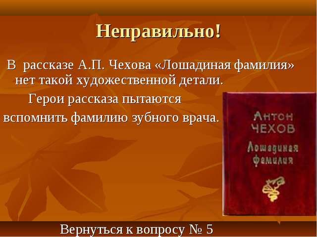 Неправильно! В рассказе А.П. Чехова «Лошадиная фамилия» нет такой художествен...
