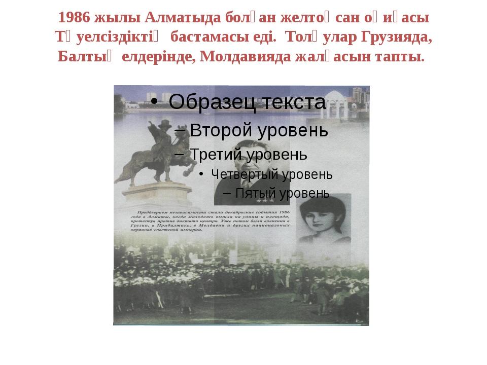 1986 жылы Алматыда болған желтоқсан оқиғасы Тәуелсіздіктің бастамасы еді. Тол...