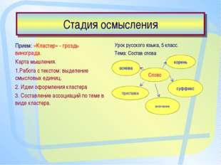 Стадия осмысления Прием: «Кластер» - гроздь винограда. Карта мышления. 1.Рабо