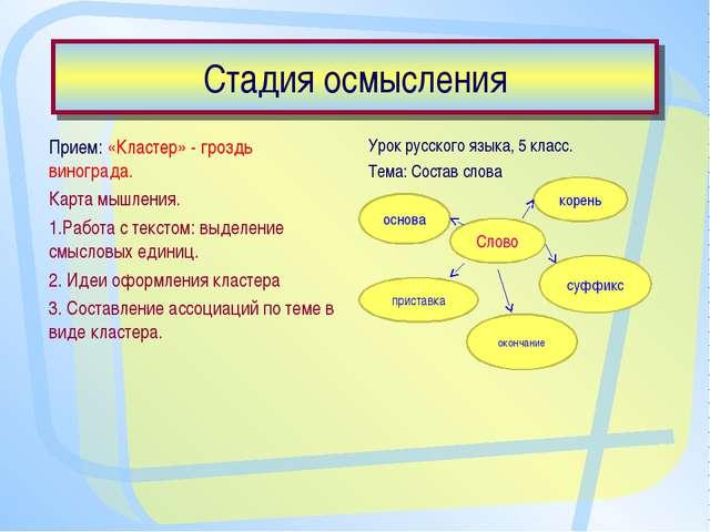 Стадия осмысления Прием: «Кластер» - гроздь винограда. Карта мышления. 1.Рабо...