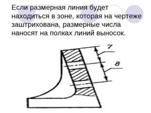 Если размерная линия будет находиться в зоне, которая на чертеже заштрихована