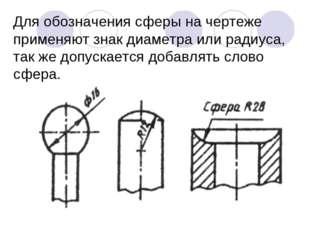 Для обозначения сферы на чертеже применяют знак диаметра или радиуса, так же