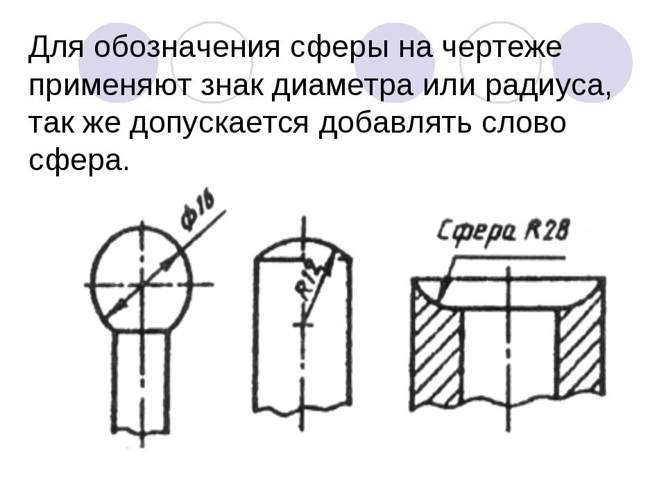 Для обозначения сферы на чертеже применяют знак диаметра или радиуса, так же...