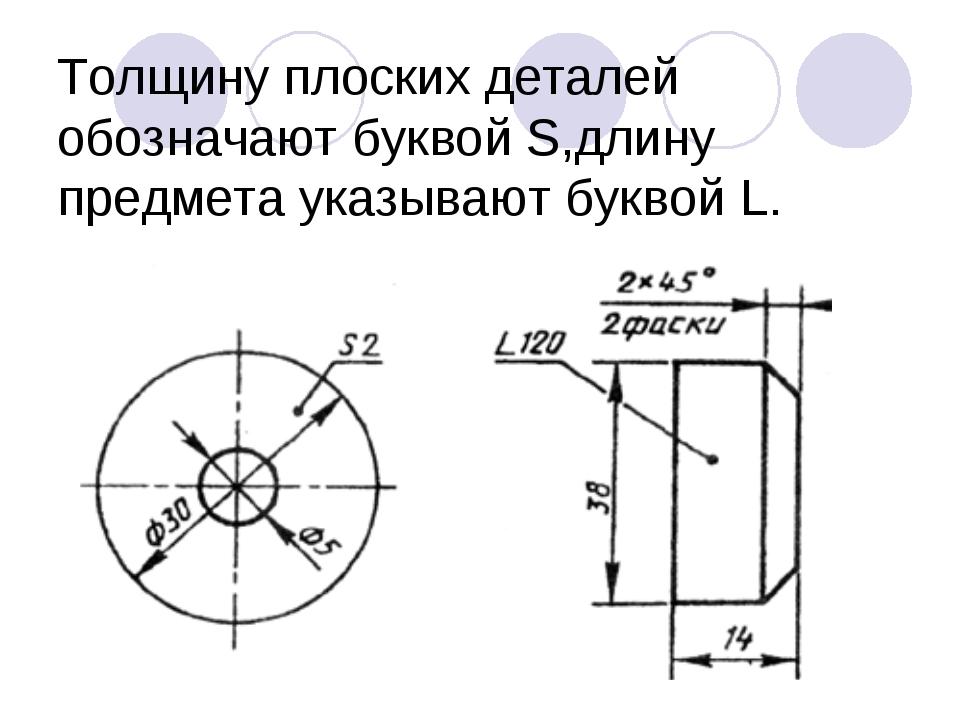 Толщину плоских деталей обозначают буквой S,длину предмета указывают буквой L.
