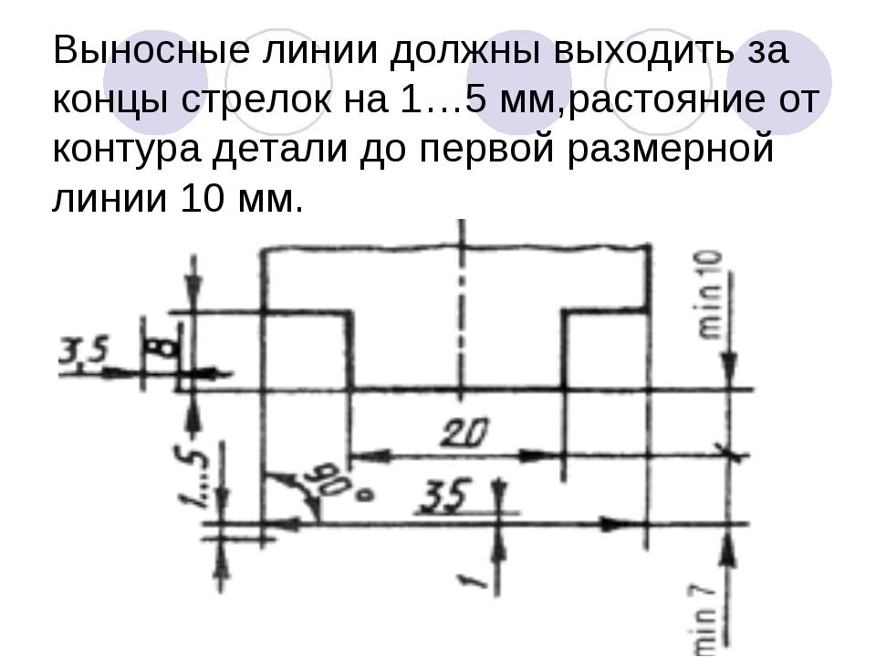 Выносные линии должны выходить за концы стрелок на 1…5 мм,растояние от контур...