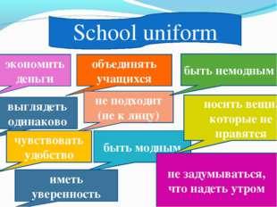 School uniform объединять учащихся не подходит (не к лицу) экономить деньги в