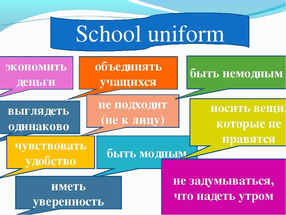 School uniform объединять учащихся не подходит (не к лицу) экономить деньги в...