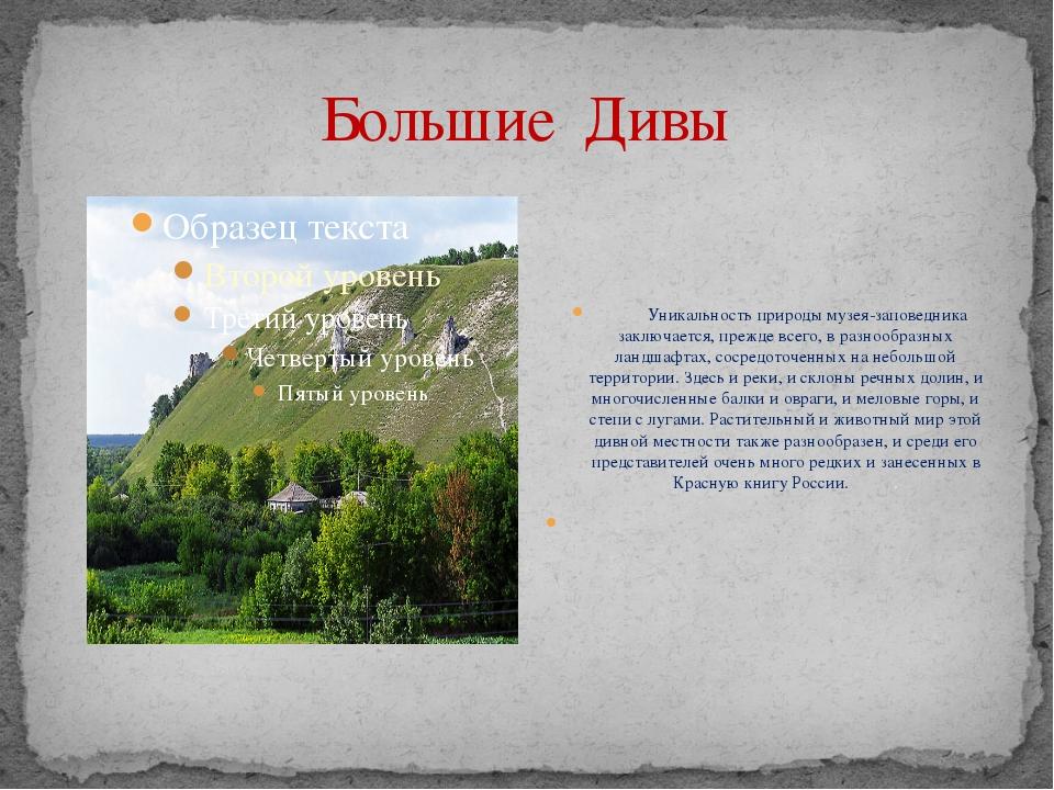 Большие Дивы  Уникальность природы музея-заповедника заключается, пр...