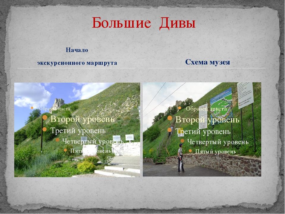 Начало экскурсионного маршрута Схема музея Большие Дивы