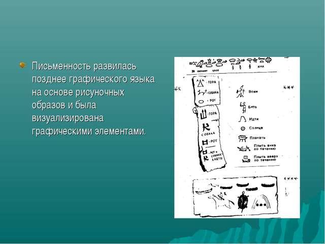 Письменность развилась позднее графического языка на основе рисуночных образо...