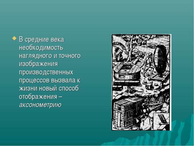 В средние века необходимость наглядного и точного изображения производственны...