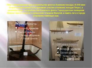 Пётр I в Воронежском крае (строительство флота и Азовские походы).В XVIII ве
