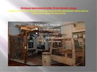 Интерьер крестьянской избы Острогожского уезда Предметы быта, представленные
