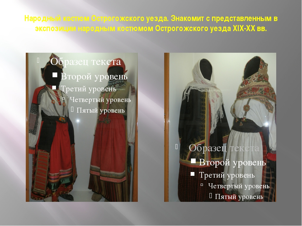 Народный костюм Острогожского уезда. Знакомит с представленным в экспозиции н...
