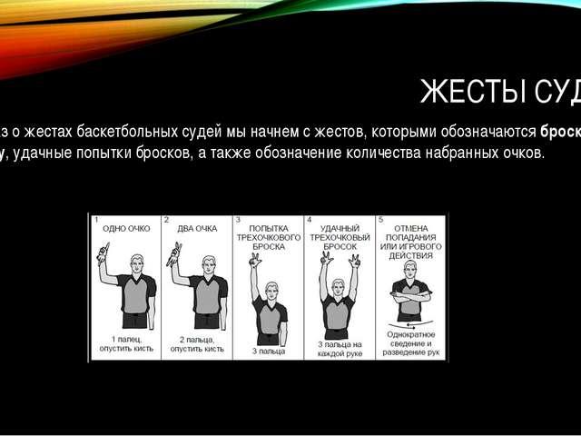 ЖЕСТЫ СУДЕЙ Рассказ о жестах баскетбольных судей мы начнем с жестов, которыми...