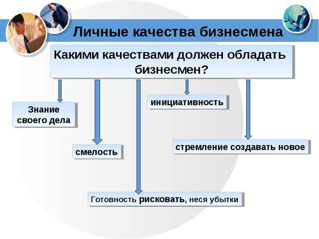 Личные качества бизнесмена Какими качествами должен обладать бизнесмен? Знани...
