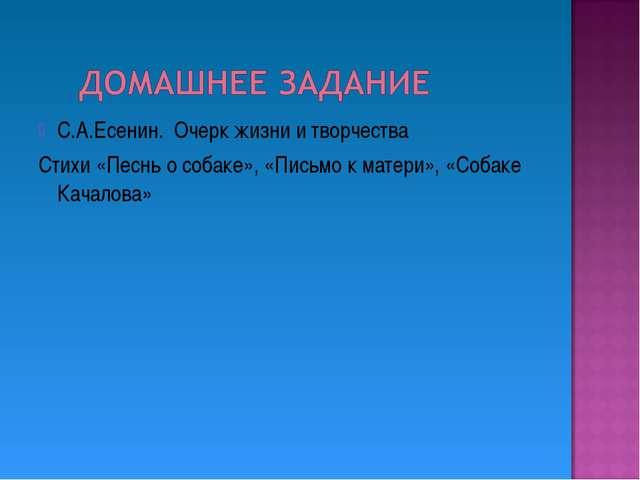 С.А.Есенин. Очерк жизни и творчества Стихи «Песнь о собаке», «Письмо к матери...