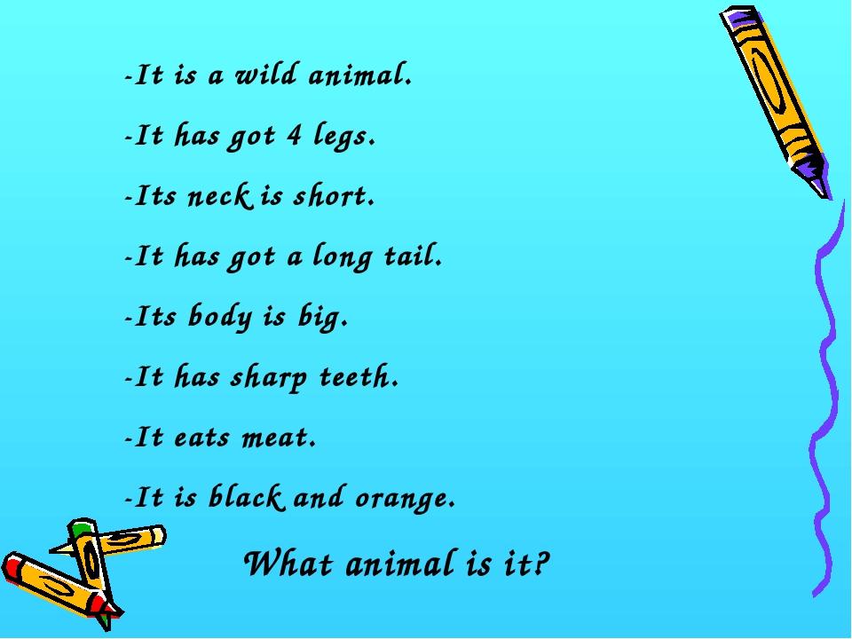 -It is a wild animal. -It has got 4 legs. -Its neck is short. -It has got a l...