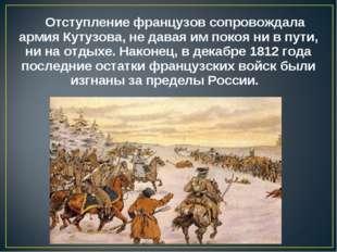 Отступление французов сопровождала армия Кутузова, не давая им покоя ни в пут