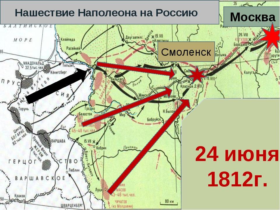 Смоленск Москва Нашествие Наполеона на Россию 24 июня 1812г.