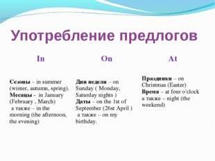 Употребление предлогов InOnAt Сезоны – in summer (winter, autumn, spring).