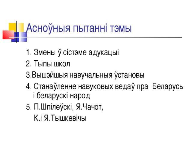 Асноўныя пытанні тэмы 1. Змены ў сістэме адукацыі 2. Тыпы школ 3.Вышэйшыя нав...
