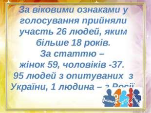 За віковими ознаками у голосування прийняли участь 26 людей, яким більше 18 р