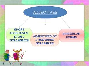 ADJECTIVES SHORT ADJECTIVES (1 OR 2 SYLLABLES) ADJECTIVES OF 2 AND MORE SYLLA