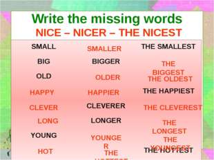 Write the missing words NICE – NICER – THE NICEST SMALLER THE BIGGEST OLDER T