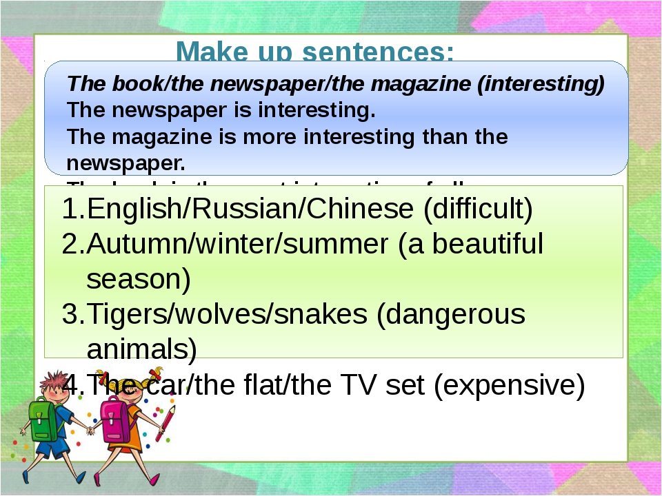 Make up sentences: The book/the newspaper/the magazine (interesting) The news...