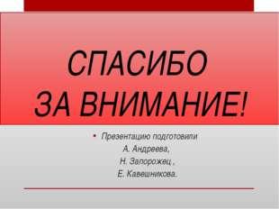 СПАСИБО ЗА ВНИМАНИЕ! Презентацию подготовили А. Андреева, Н. Запорожец , Е. К